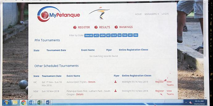 www.mypetanque.com : For Registration and Results