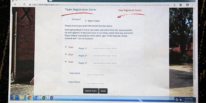 My Petanque Registration