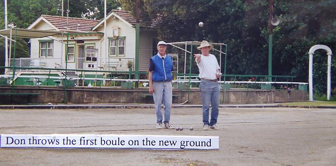 Christian on the left, Don on the right, bowling club in the background